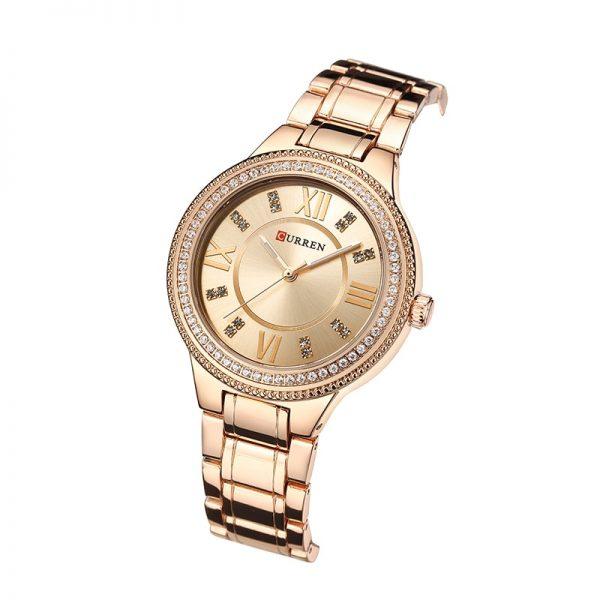 Curren ženski sat sa brončanom pozadinom brojlanika i brončanim remenom