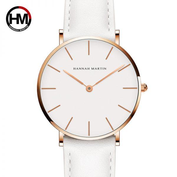 Hannah Martin ženski bijeli sat sa zlatnim obrubom