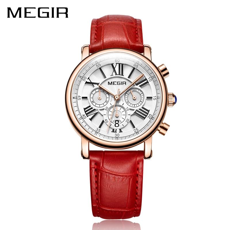 megir ženski sat sa crvenim remenom